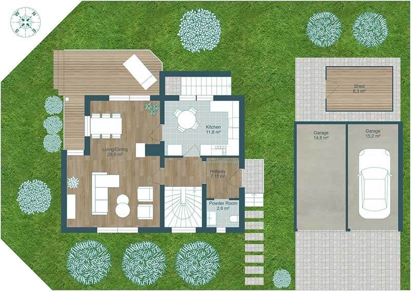 2d plattegrond huis perceel