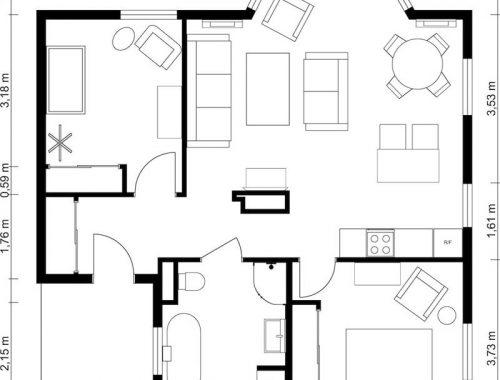 2d plattegrond tweekamerappartement zwart wit