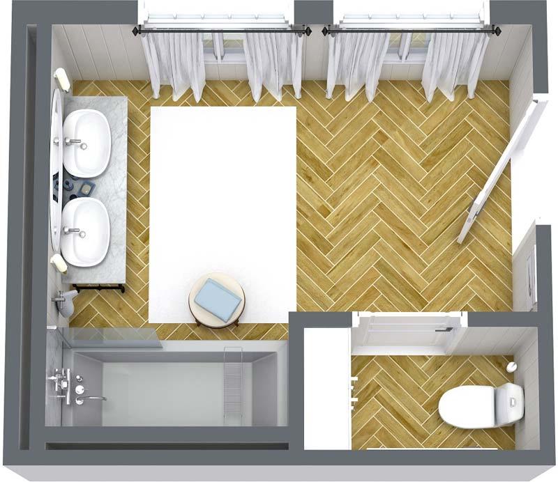 3d plattegrond badkamer
