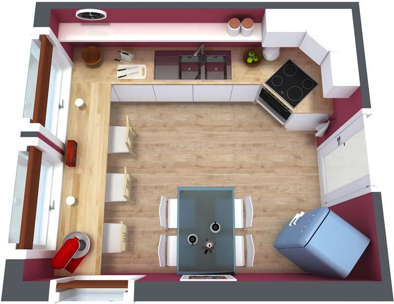 3d plattegrond keuken
