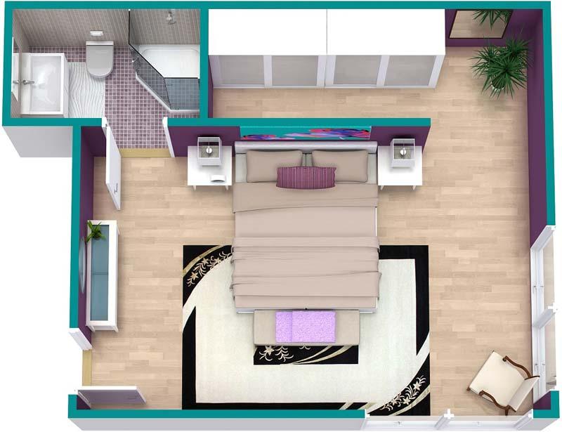 3d plattegrond slaapkamer