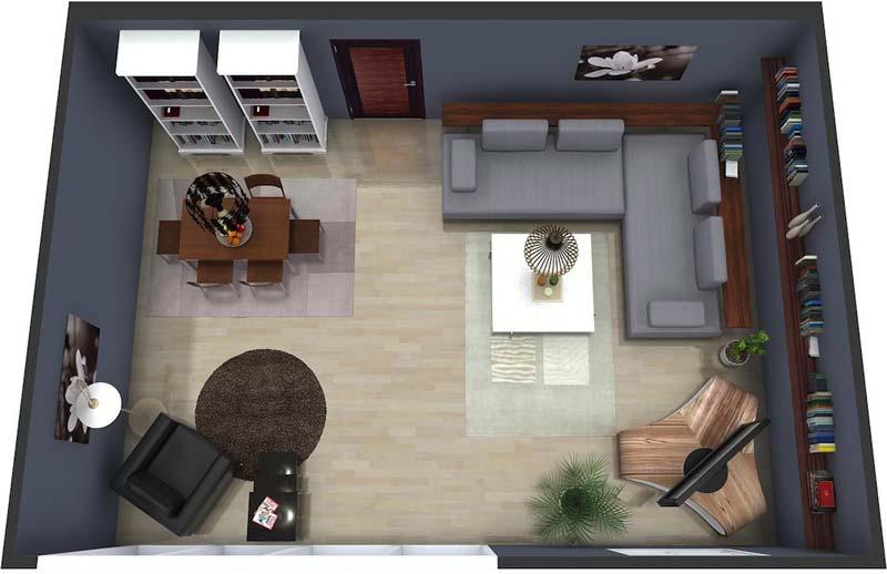 3d plattegrond woonkamer