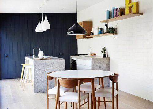Speelse betonnen keuken
