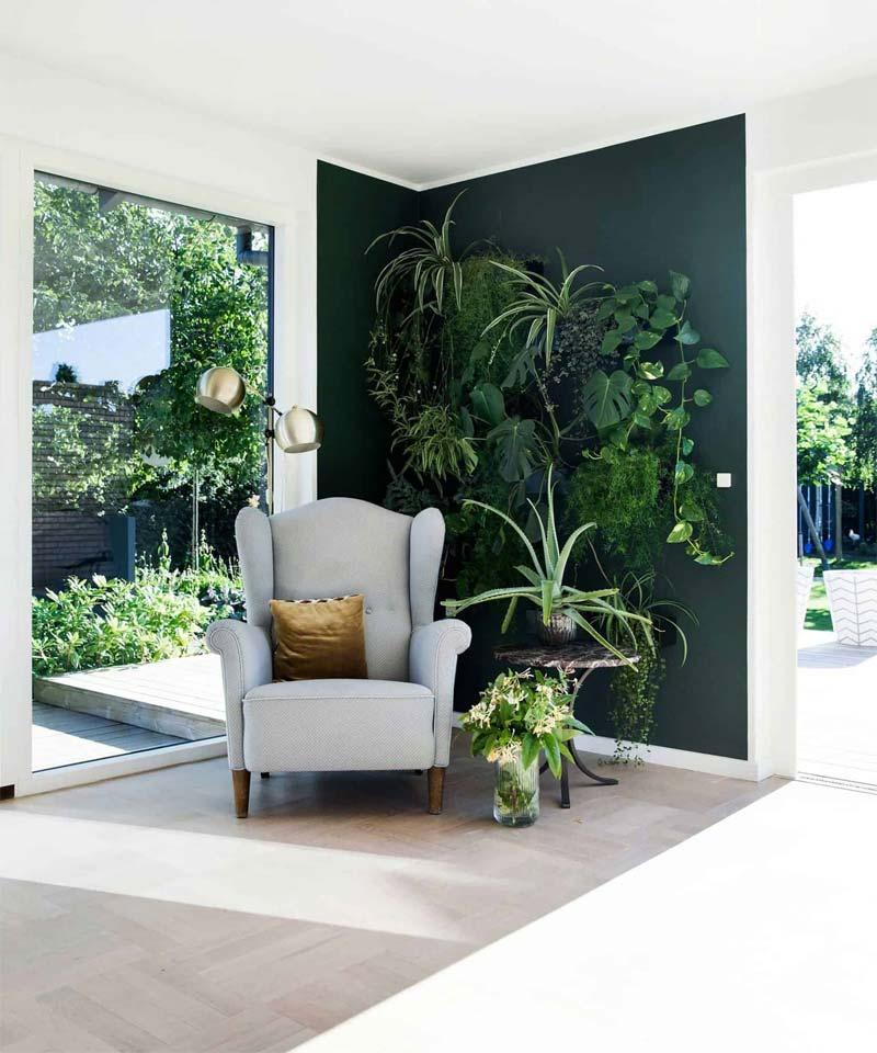 accentmuur groene muur leeshoek