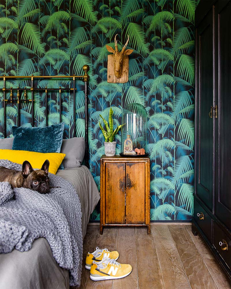 accentmuur jungle behang slaapkamer cole & Son