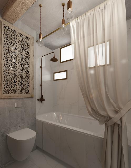 Badkamer met een Balinese sfeer
