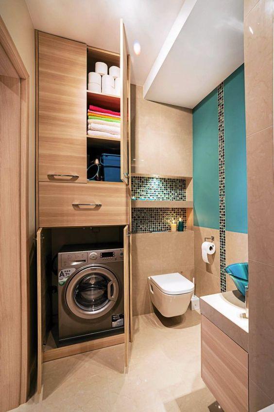 Badkamer met wasmachine