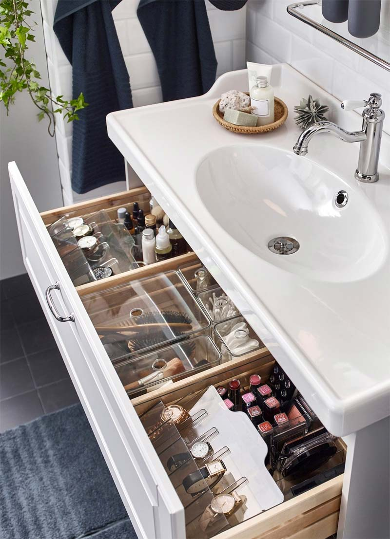 badkamer opruimen lade ikea opbergdozen