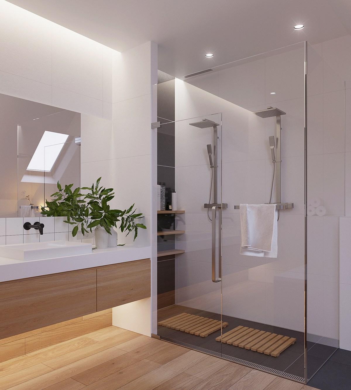 Badkamers voorbeelden dubbele douche naast elkaar