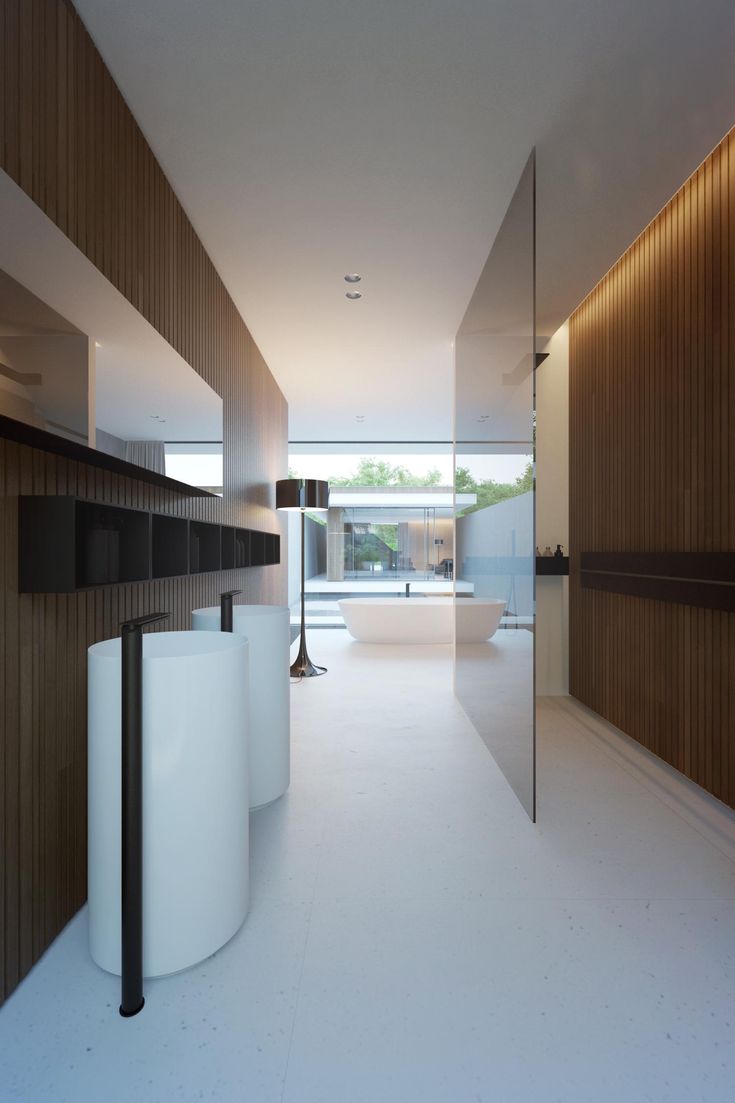 Badkamers voorbeelden dubbele vrijstaande wastafel