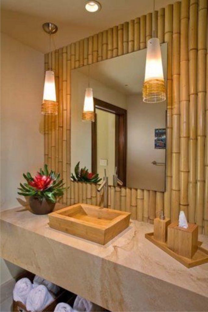 bamboe muur badkamer