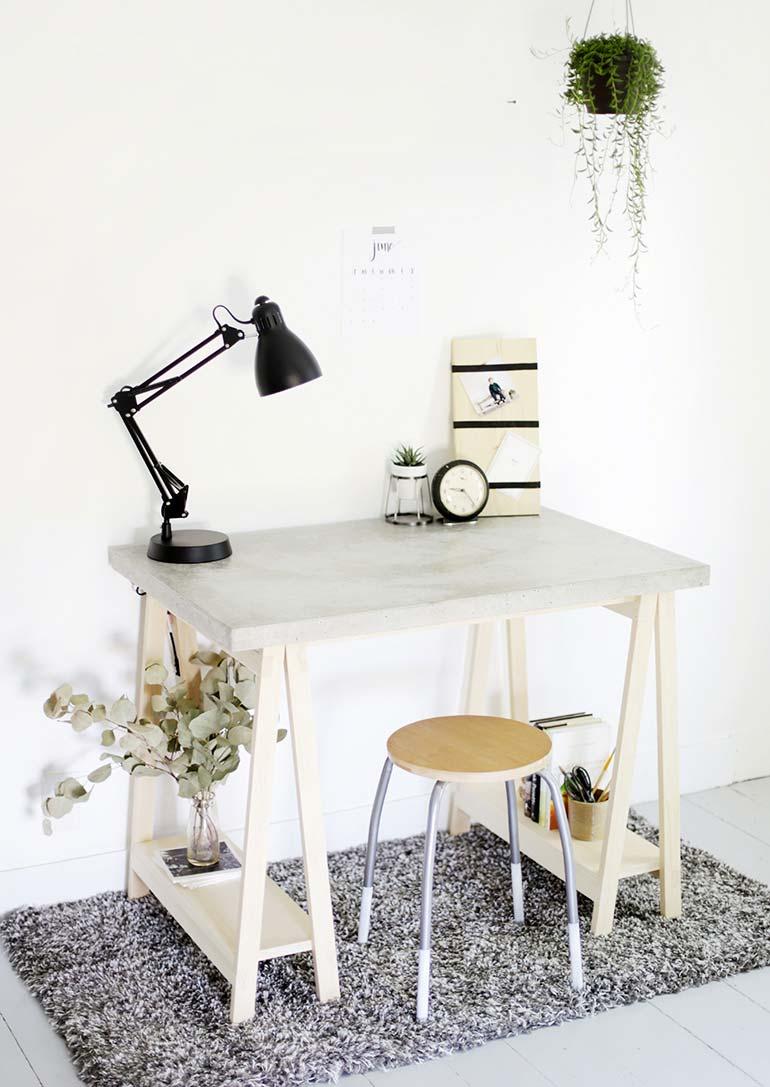 betonnen bureau maken