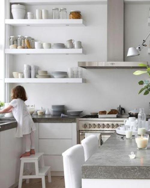 Betonnen keukenblad witte kasten