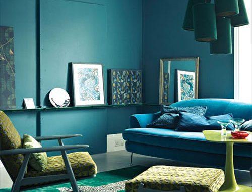 Blauw kleurinspiratie woonkamer