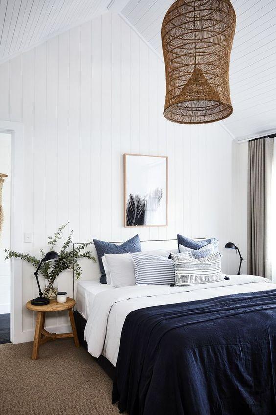 Blauw witte slaapkamer