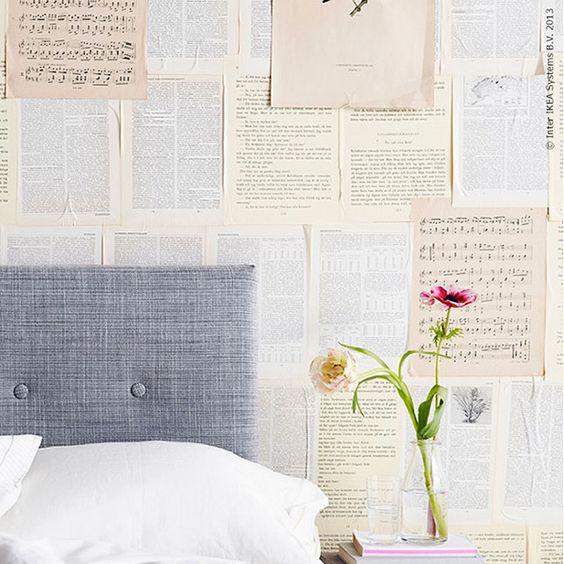 Boekenpagina's als muurdecoratie