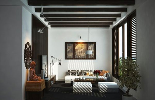 Budhabeeld in woonkamer