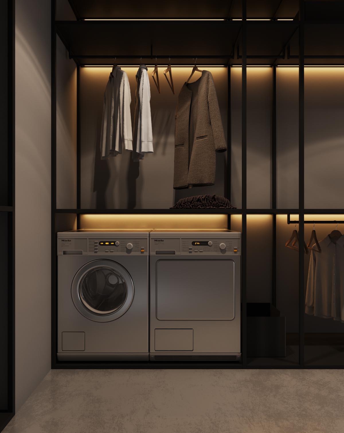 Combinatie van de washok en de inloopkast