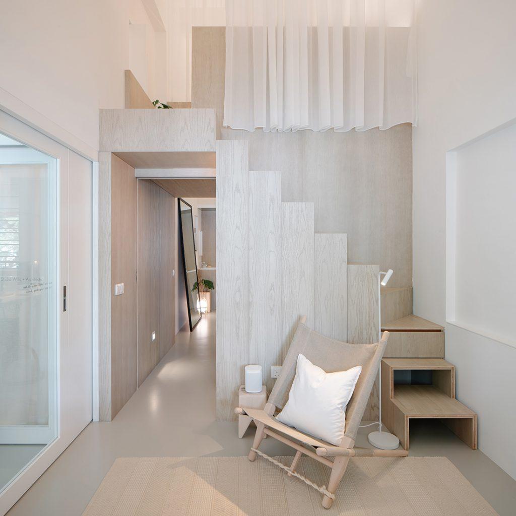 combinatie woonruimte kantoor maatwerk mezzanine van hout