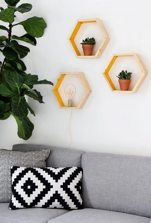 DIY hexagon wandkubussen