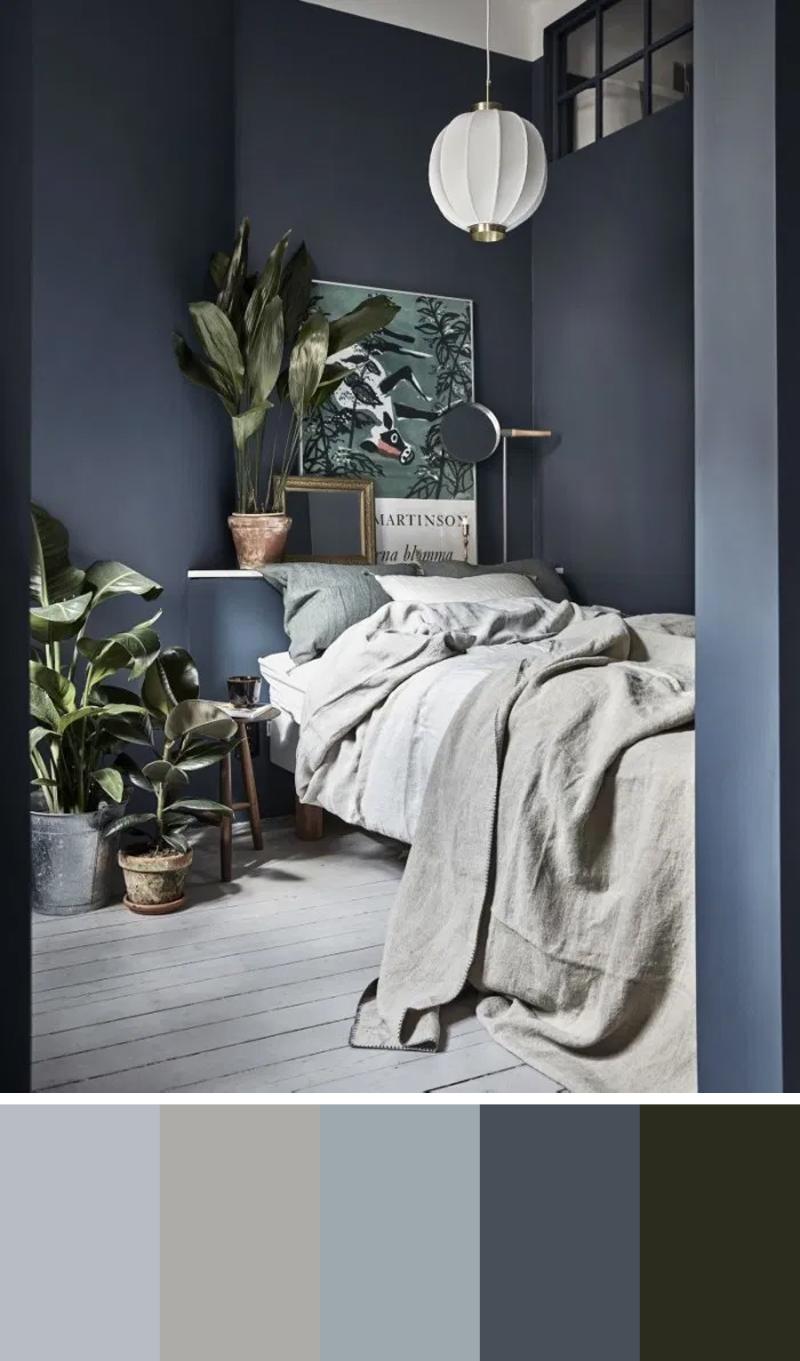 donkerblauw interieur combineren slaapkamer