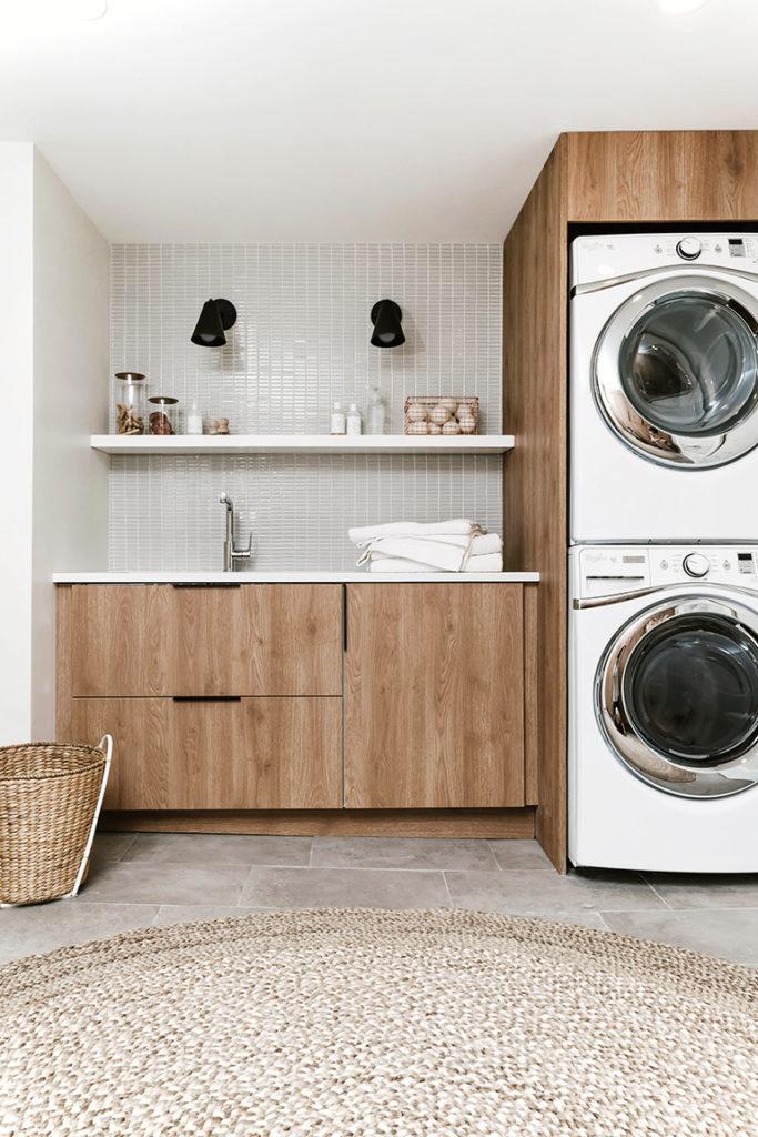 Eikenhouten wasmachine kast