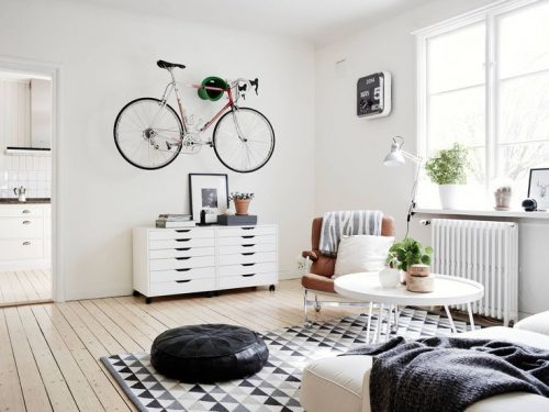 Fiets ophangen in de woonkamer