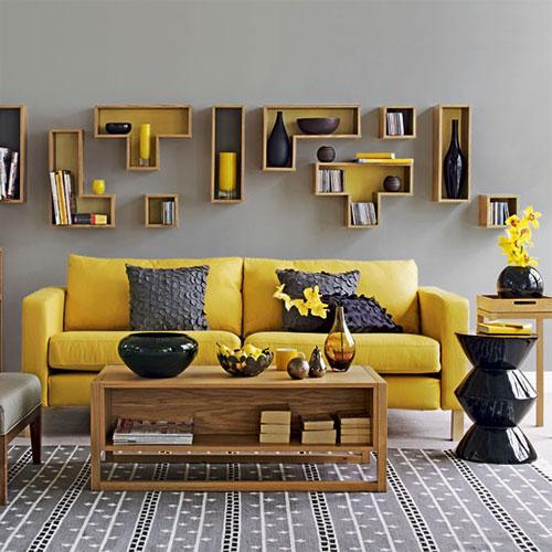 Geel grijs kleurinspiratie woonkamer