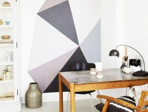 Geometrische vormen aan de muur
