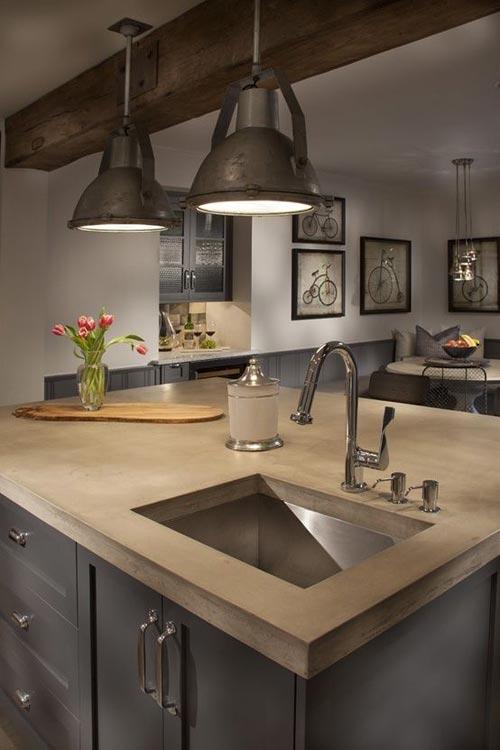 Gladde betonnen keukenblad