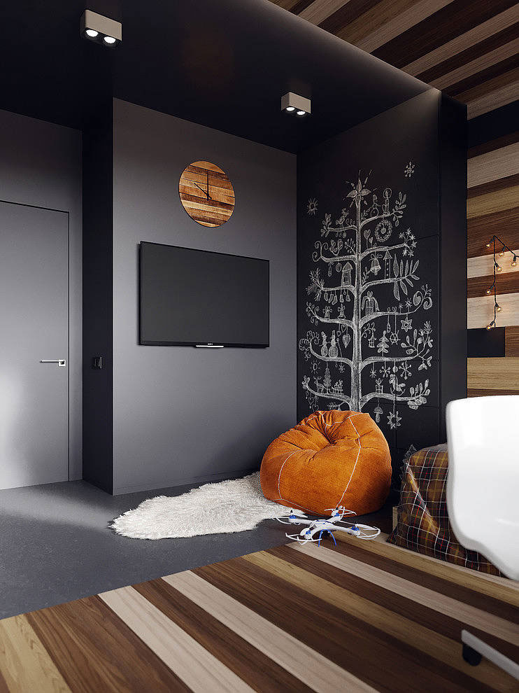 grijs interieur combineren oranje