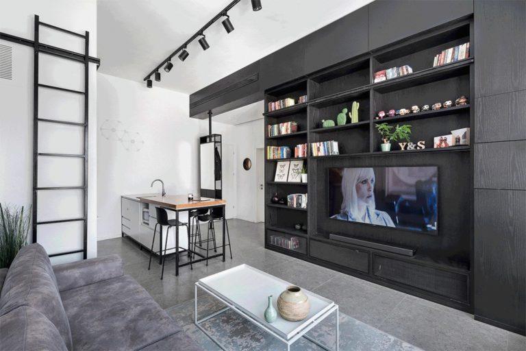grijs op grijs interieur woonkamer