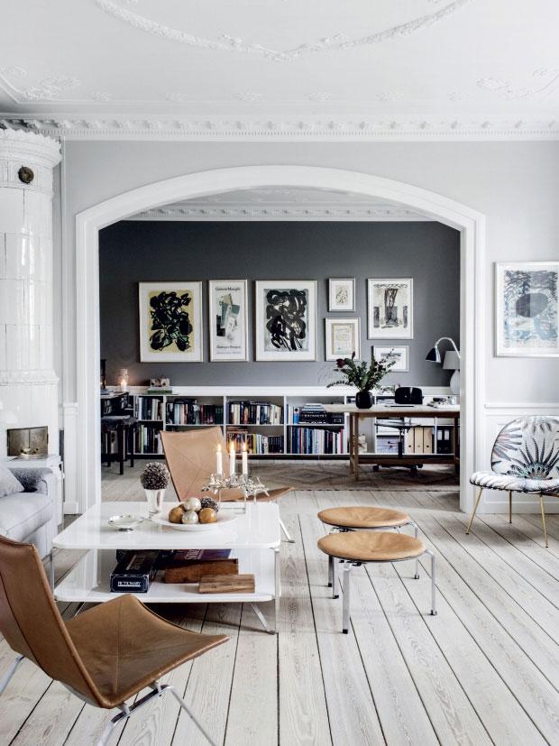 grijze muren woonkamer werkplek