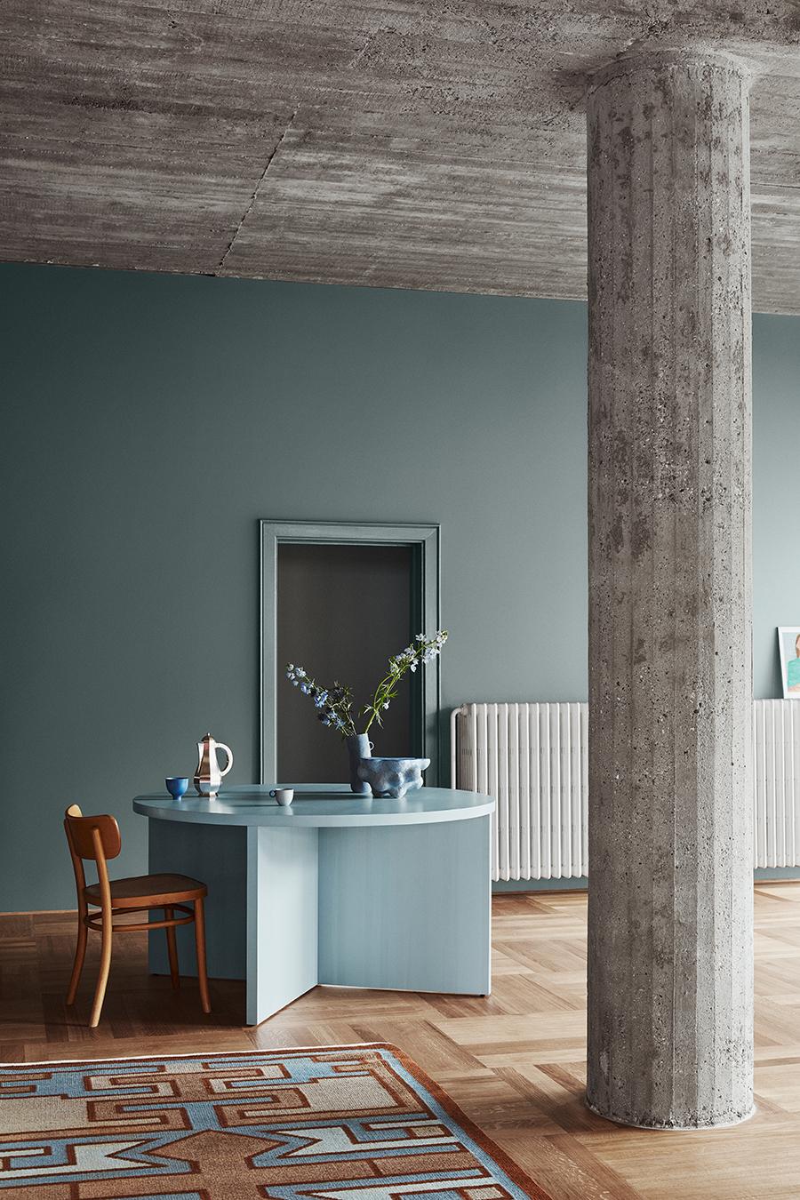 groen blauwe muurkleur interieur