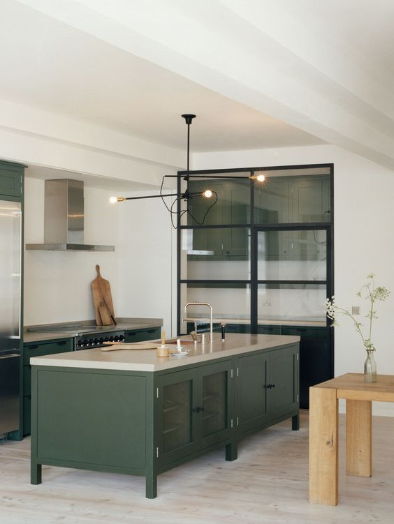 Hunter Green Kitchen Island