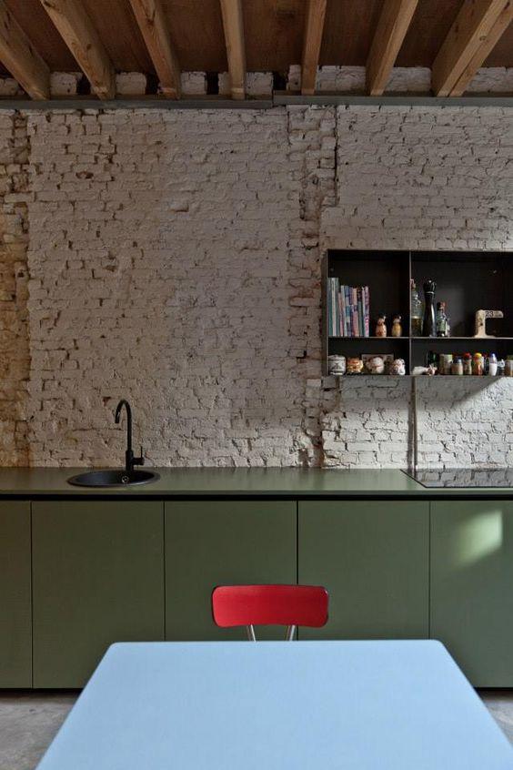 groene-moderne-lage-keukenkasten