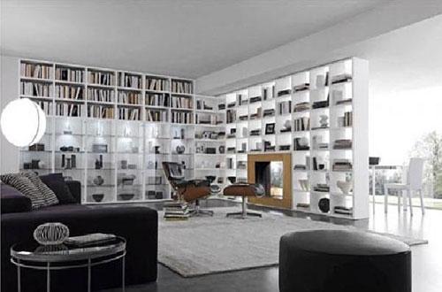 Grote boekenkast in de woonkamer