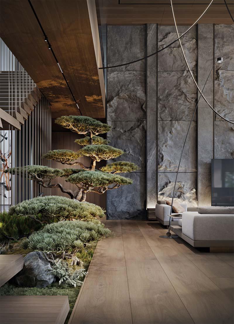 grote bonsai boom binnen in huis