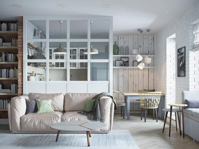 Scheidingswand Woonkamer Keuken : Half open keuken met glazen transparante scheidingswand huis