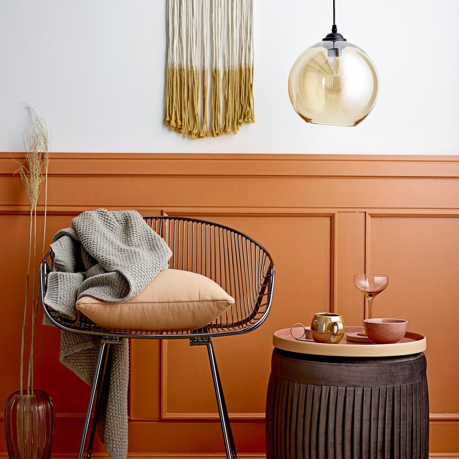 hanglamp glazen bol bloomingville brown