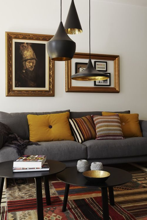 Hanglampen met gouden binnenkant