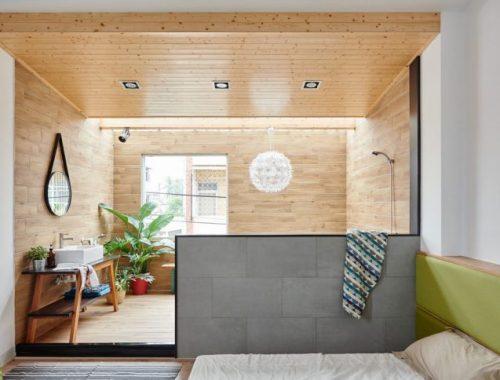 HAO Design ontwerpt half open badkamer in slaapkamer