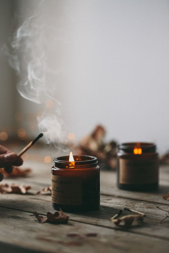 herfst interieur kaarsen