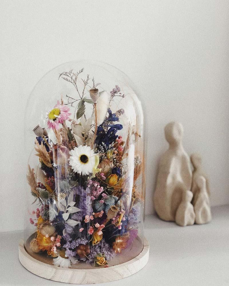 housewarming glazen stolp droogbloemen