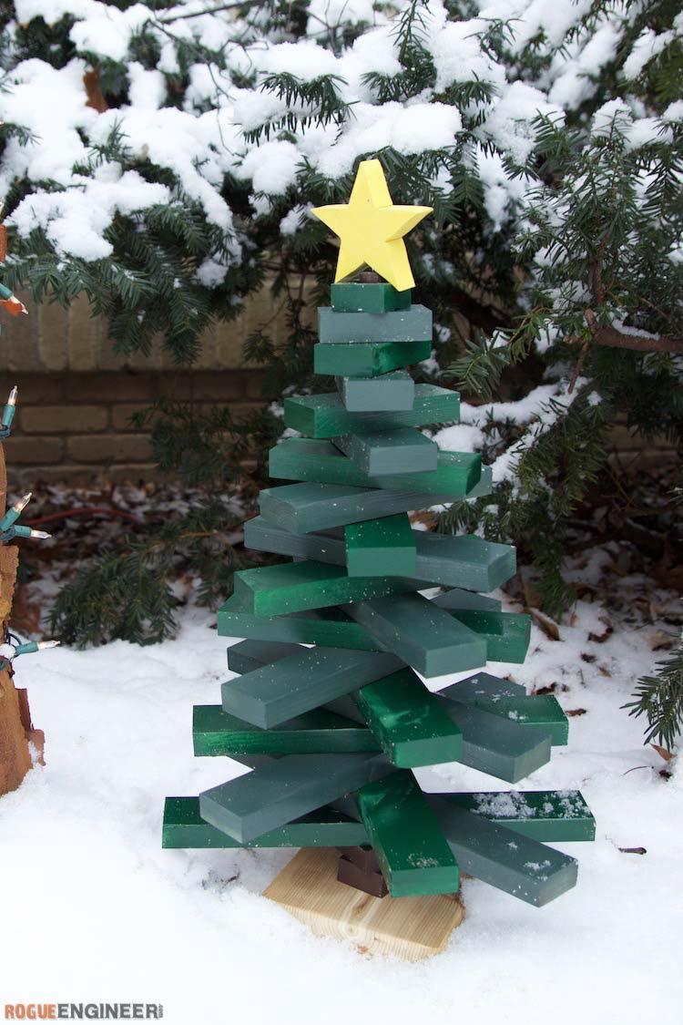 houten kerstboom maken groen