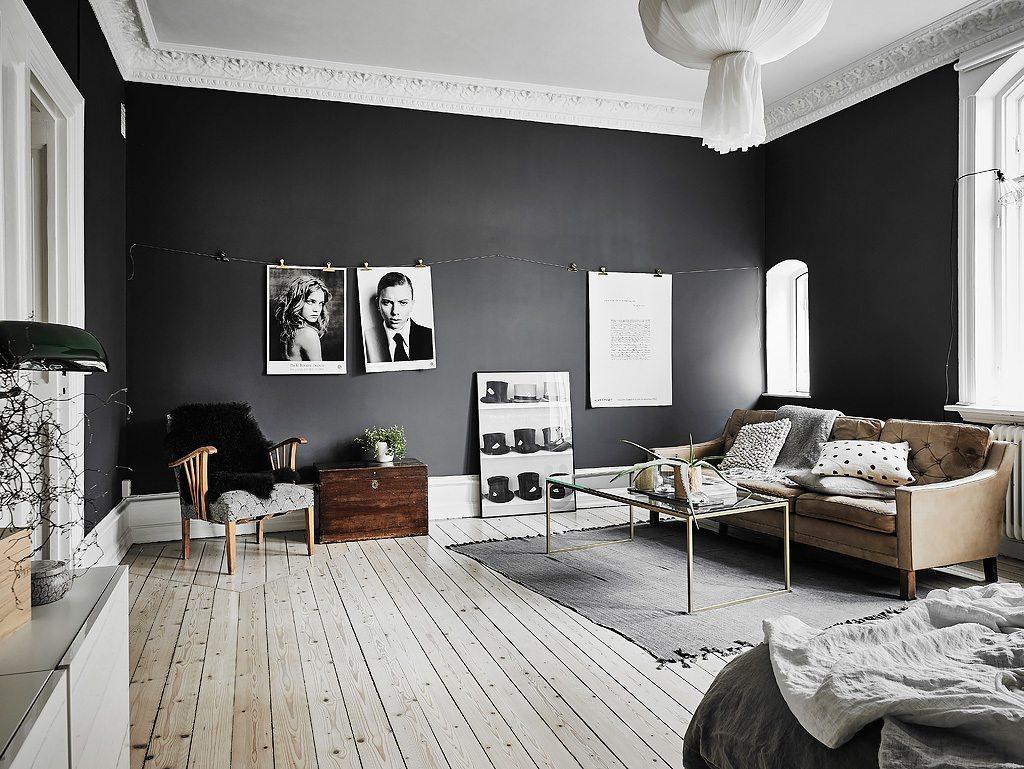 huis inrichten zwarte muur