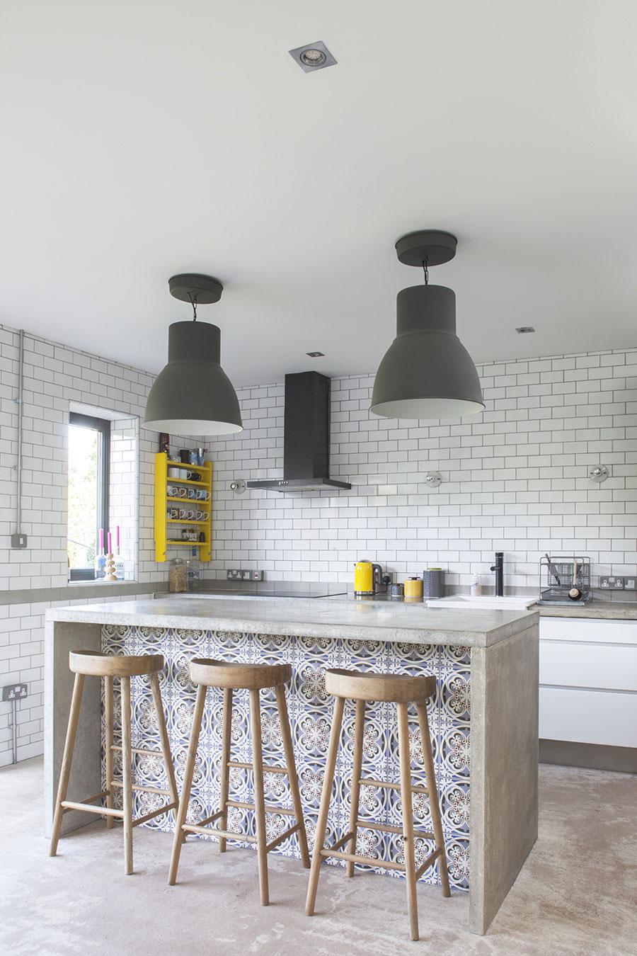 industrieel interieur betonnen keukenblad