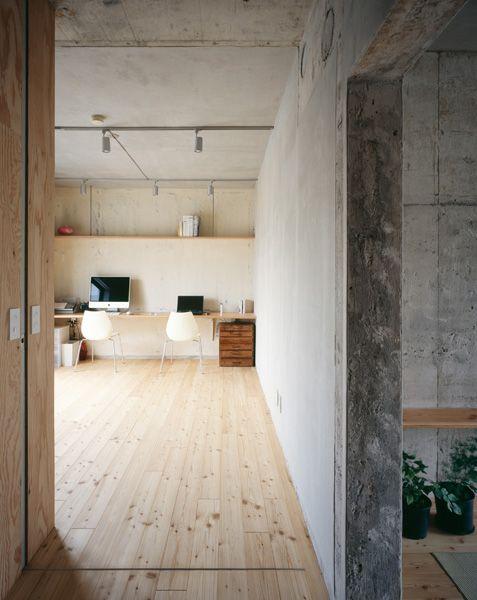 Industrieel interieur betonnen muren kantoor