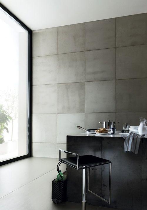 Industrieel interieur betonnen muren keuken