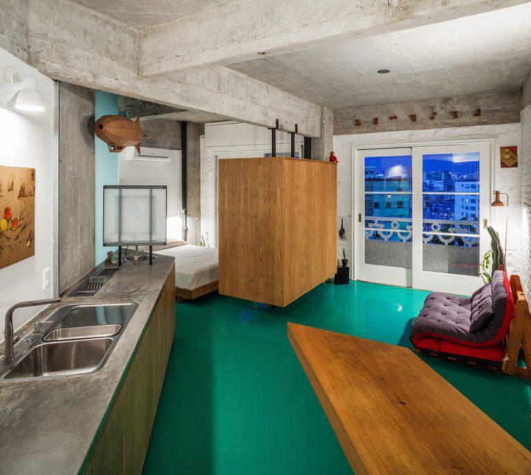 industrieel interieur betonnen werkblad